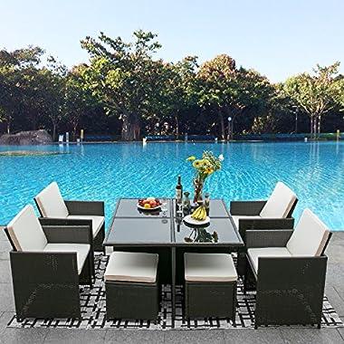 Leisure Zone 9 Piece Outdoor PE Rattan Sofa Set Wicker Patio Dining Set Garden Lawn Furniture Set (dark brown)