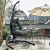 TOME Foldable Swing Chair with Stand, Rattan Wicker Hanging Egg Chair Hammock Chair with Cushion and Pillow for Indoor Outdoor Bedroom Patio Garden (Deep)