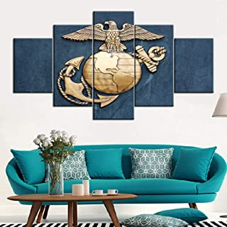 Native American Wall Art Navy Pictures 5 Panel Canvas United States Marine Corps Symbol Picture Paintings Modern Artwork Home Decor Living Room Posters and Prints Framed Ready to Hang(60''Wx32''H)