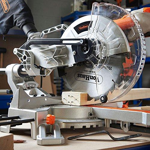 VonHaus Sliding Compound Mitre Saw 255mm (10') 2000W – Sliding Bevel, Powerful Performance with +45°/-45° Versatility – Woodworking, Plastic - Laser, Extension Bars & Dust Bag – 5000RPM – 2yr Warranty