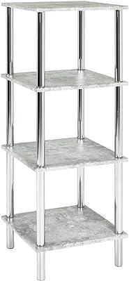 Haku Moebel 90440 Étagère, Acier, Chromé-Optique Béton, 39 x 39 x 107 cm