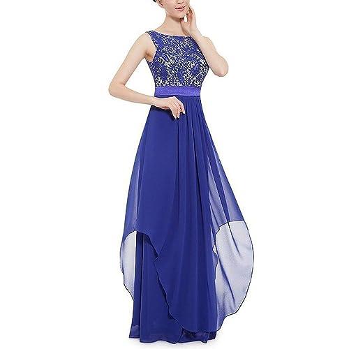 1288a8ecf8318 carinacoco Donna Elegante Vestiti da Matrimonio Pizzo Abito in Chiffon  Lunghi Vestito Formale Banchetto Sera