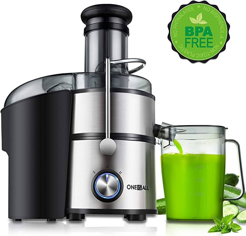 Juicer ONEISALL Juice Extractor 800W Easy To Clean Extractor Press Centrifugal Juicing Machine Wide 3 Feed Chute For Whole Fruit Vegetable Anti Drip High Quality BPA Free Large Silver