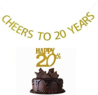 Cheers To 20 Years banner and Happy 20th Cake Topper Gold Glitter for 20th Birthday Wedding Anniversary Party Decorations Supplies