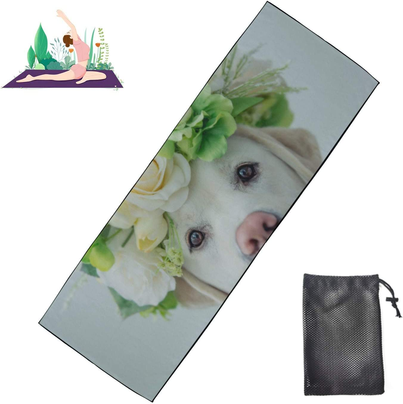 Huqalh Non-Slip Spring new work one after another Yoga Towel Funny Cash special price Puppy Retriever Labrador Yo Hot
