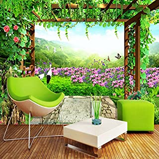 TIANXINBZ Nature Landscape Green Grape Vine Flowers Butterfly Photo Mural Living Room Bedroom Wall Decor Customize 3D Wall...