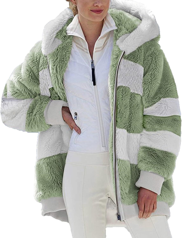 Faux Fur Wool Jacket Coat for Women Fashion Color Block Winter Warm Zipper Hoodie Plus Size Fleece Hooded Outerwear