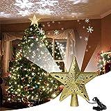 HTDHS Estrella de Cinco Puntas de Navidad la Punta del árbol, Las Luces del proyector 3D Adornos iluminadas con LED giratorios del Copo de Nieve de Navidad Decoraciones del árbo