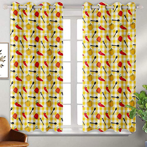 June Gissing Food DIY Grommet Curtain for Living Room Checkered Squares Pattern with Chili and Bell Peppers Plastic Spatula Spoon Cooking Fade Resistant Polyester Microfiber W55 x L45 Multicolor