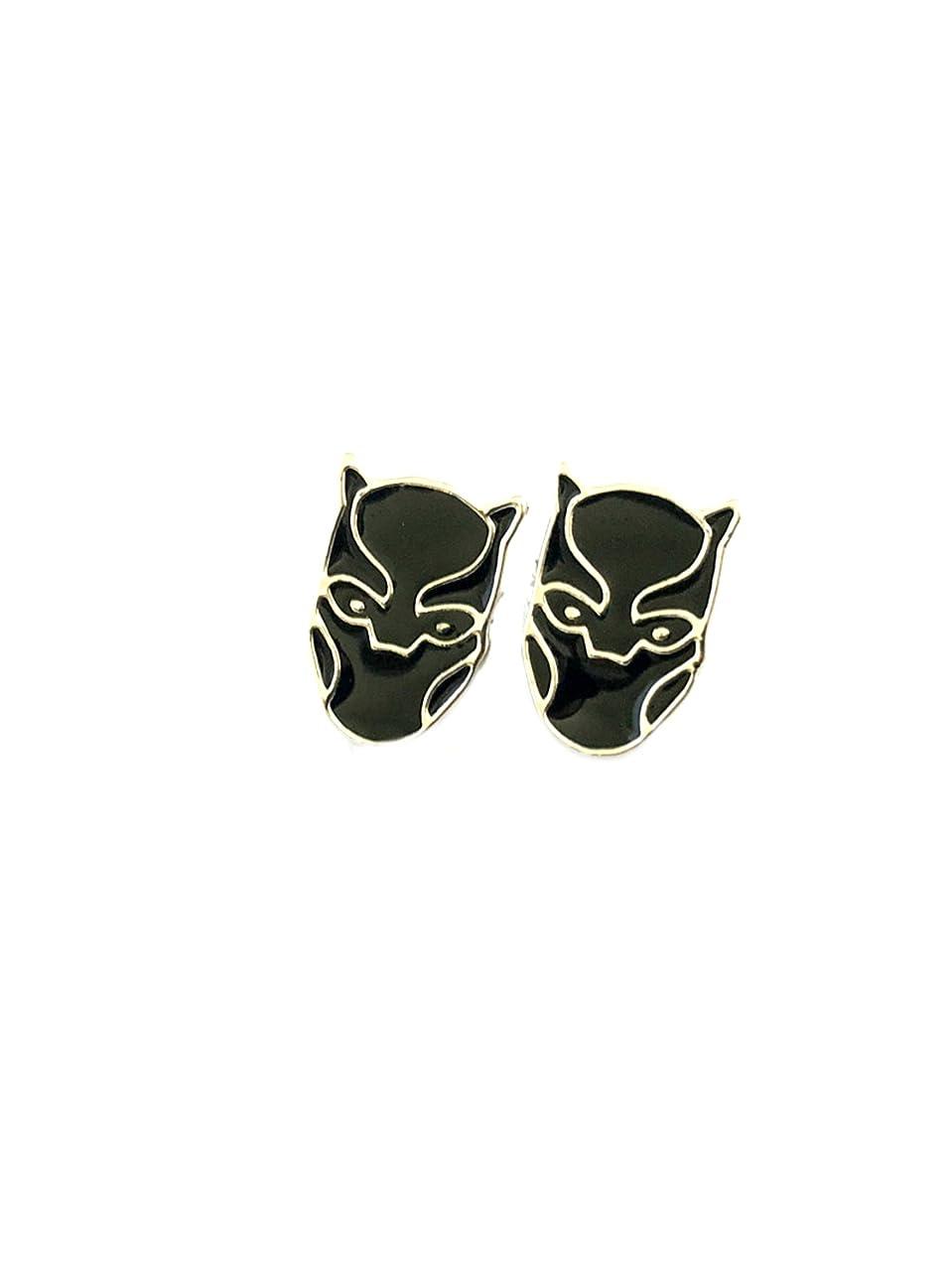 Black Panther Post Stud Silvertone Premium Quality Earrings Marvel Comics 2018 Movies Avengers Infinity War Cartoon Superhero Theme