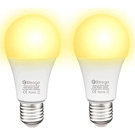 Etrogo Bombilla Crepuscular Led Sensor Luz E27 10W Equivalencia 100W Blanco Cálido 3000K Encender/Apagar Automático 806Lumens 2 Unidades [Clase de eficiencia energética A]