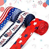 3 Rolls Patriotic Independence Day Ribbons Stripe Star Wired Ribbon American Flag Ribbons American Map Pattern Ribbon 4th of July Theme Ribbons for Memorial Day, Veteran's Day, President's Day Decors