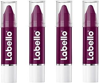 LABELLO Crayon Lipstick Black Cherry Matitone Labbra in Confezione da 4, Balsamo Labbra con Formula Arricchita di Oli Natu...