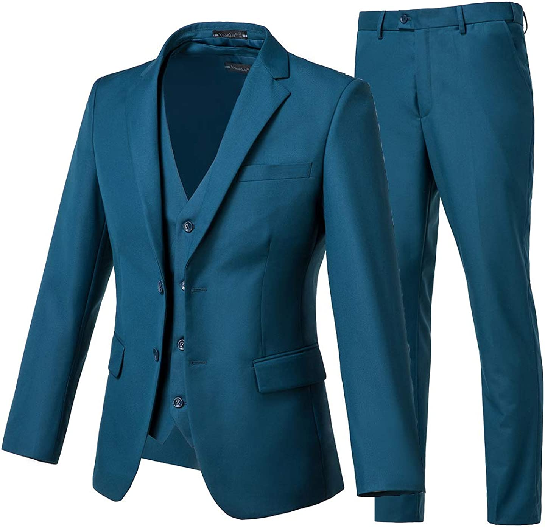 Yanlu Prom Suits for Men 3 Pieces Notch Lapel Wedding Men Suits Two Button Formal Tuxedos Casual Blazer