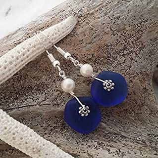 Handmade in Hawaii,cobalt blue sea glass earrings, Freshwater pearl, (Hawaii Gift Wrapped, Customizable Gift Message)