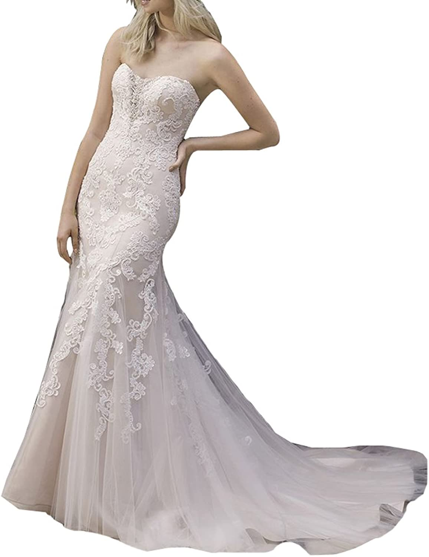 LISA.MOON Women's Sweetheart Mermaid Lace Applique Sweep Train Wedding Dress