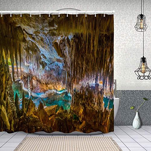 Cortina de Baño con 12 Ganchos,calas del drac Mallorca,Cortina Ducha Tela Resistente al Agua para baño,bañera 180X180cm