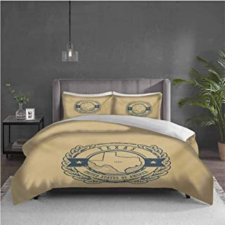 Edwiin Charles Texas Pure Bedding Hotel Luxury Bed Linen Grunge Retro Rubber Stamp with Name and Map of Texas United States of America Polyester - Soft and Breathable (Queen) Khaki Cadet Blue