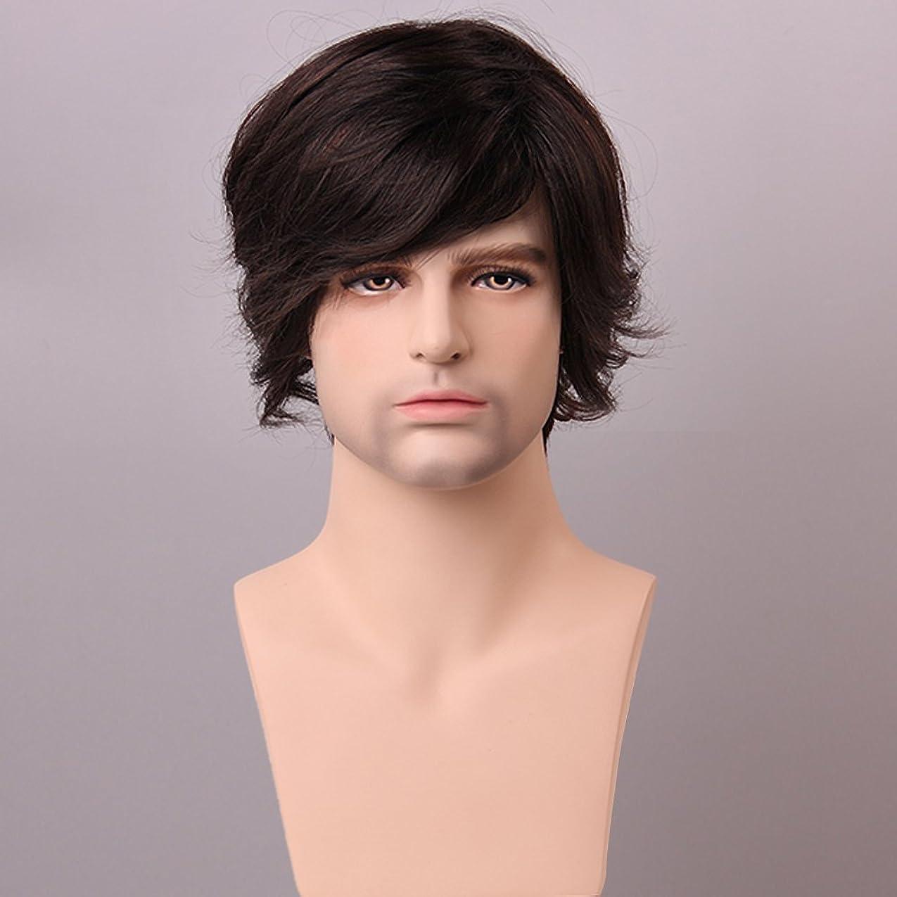 ピニオン類似性器具YZUEYT ふわふわミディアムブラウン男性の人間の髪のかつら男性モノトップVirginレミーキャップレスサイドバング YZUEYT (Size : One size)