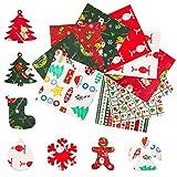 10 Piezas Navidad Tela Algodon Telas Patchwork, Tela de Algodón de Navidad, Patchwork de Costura de Tela, Patrones Navideños Rojos y Verdes, Utilizados para Decoraciones de Bricolaje (25 * 25CM)