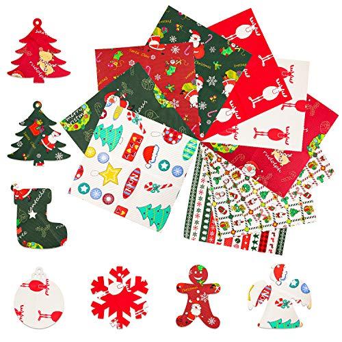 10 Pezzi Tessuti Natalizi, Tessuto a Tema Natalizio, Tessuto di Cotone Natale, tessuto stampato in cotone patchwork multicolore, utilizzato per il cucito, artigianato natalizio fai da te (25 * 25CM)