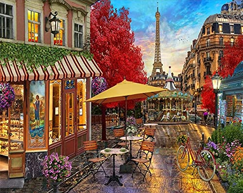 Xofjje DIY Paint by Numbers_Urban architectural landscape_Canvas Oil Painting Kit for Kids & Adults_Drawing Paintwork with Paintbrushes_40x50cm_No frame