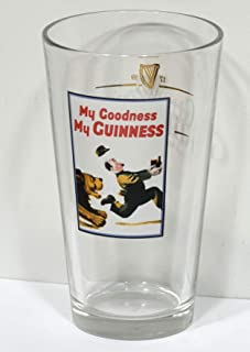 My Goodness My Guinness Draught Beer Glass Printed with Lion Chasing Zoo Keeper