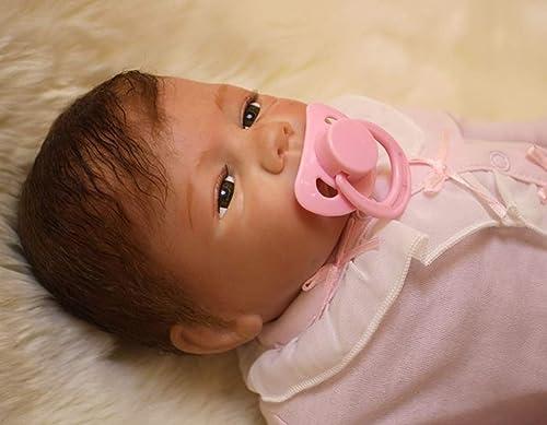 UBTY Neugeborenes Geburtstag Geschenk Baby Doll Weiß Silikon Vinyl magnetisch Reborn Babypuppen 20 inch 50cm    ne Deine Augen mädchen