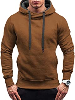 Mens Classic Fit Blend Fleece Contrast Long-Sleeve Pullover Hoodie with Pocket