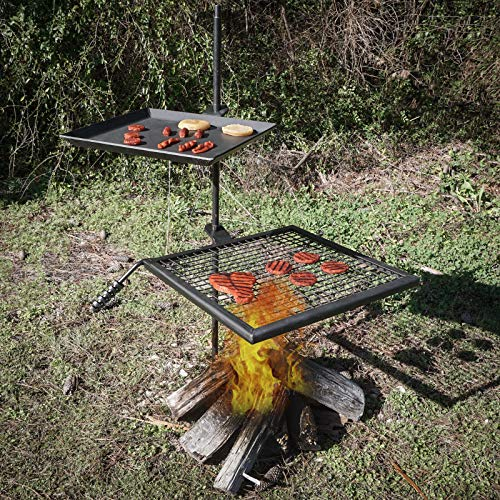 Campfire Adjustable Swivel Grill Fire Pit - Cooking Grate Griddle Plate BBQ | Elite Trading Post