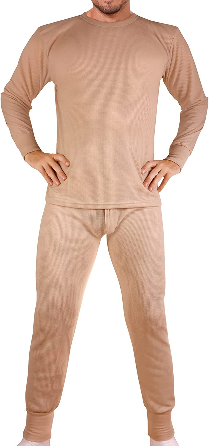 Men's Cotton Waffle Knit Thermals Beige