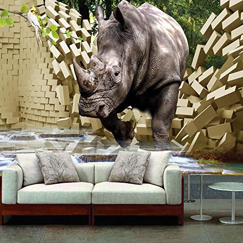 Fototapete Nashorn gebrochen 3D wand Tapete Wanddeko Design Wand Dekoration Wandbilder Wohnzimmer Schlafzimmer Büro Tapeten Wandtapete,350X250CM(WxH)