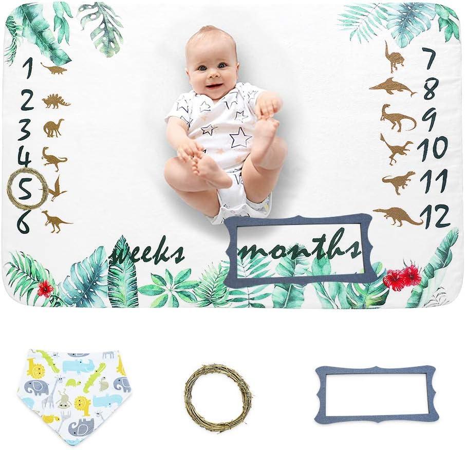 Miracle Baby Manta Mensual De Hito Para Beb/é Registre la Edad y el Crecimiento de Beb/é.(150cm*100cm) Manta de Hito Reci/én Nacidos Para Fotos Regalos Personalizados Para Futuras beb/é