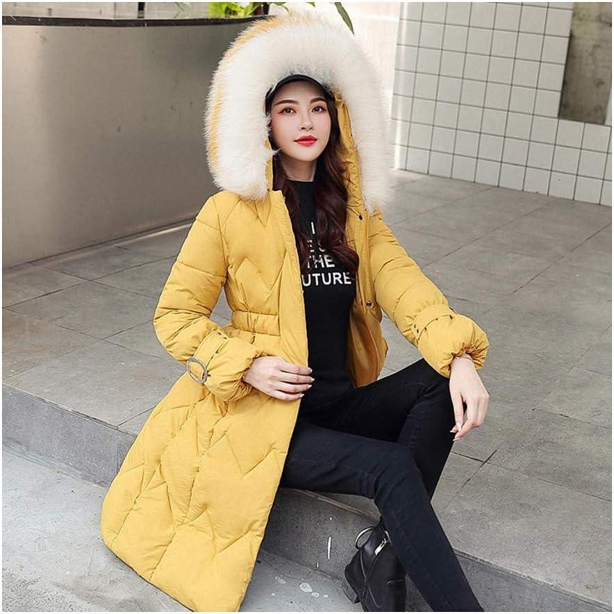 Faux Fur Long Parkas Women Down Jacket Thicken Outerwear Hooded Coat Female Jacket Yellow XL