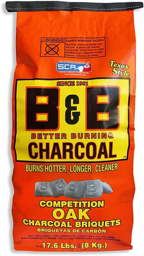 B&B Charcoal Slow Burning Oak Charcoal Briquettes - Best Competition Charcoal Briquettes