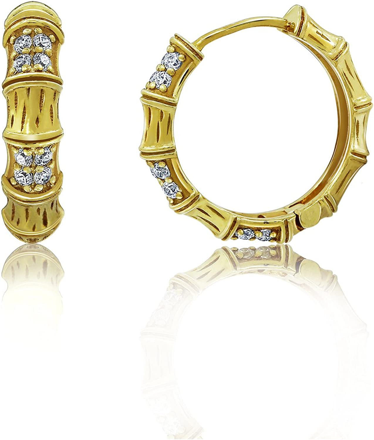 DIAMONBLISS 18K Yellow Gold Clad cheap Cubic Max 88% OFF Bamboo Textured Zirconia