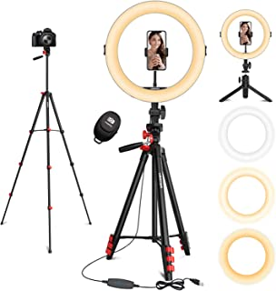 """11"""" Ring Light, L8star Selfie Led Ring Light with 51"""" Extendable Tripod Stand and Flexible Cell Phone Holder for Live Stre..."""