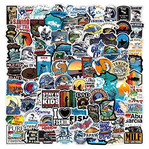 100PCS Fishing Stickers Waterproof Vinyl Cool Video Game Stickers for Kids Teens Adults for Computer Water Bottle Skateboard Decorations
