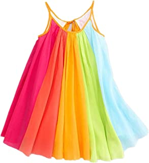 haoricu Girls Dresses, Summer Girls Beach Rainbow Dress Girls Sleeveless Sling Perform Party Chiffon Tutu Dress