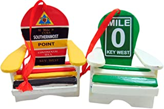 Key West Ornament Beach Chair Southernmost and Mile 0 Christmas Decoration, Set of 2