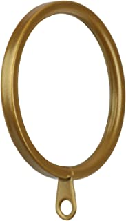 Meriville 28 pcs Gold 1.5-Inch Inner Diameter Metal Flat Curtain Rings with Eyelets, Fits Up to 1 1/4-Inch Rod