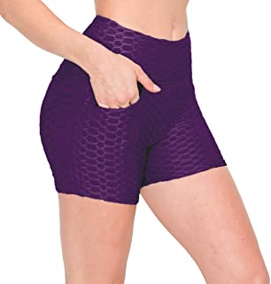 ALWAYS Womens Honeycomb Compression Shorts High Waist Slimming Butt Lift Workout Yoga Shorts