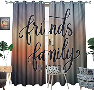 BlountDecor Family Thermal Insulating Blackout Curtain Friends are Famly We Choose Inspirational Phrase Fashion Print BFF Theme Patterned Drape for Glass Door W120 x L84 Dark Blue Yellow Peach