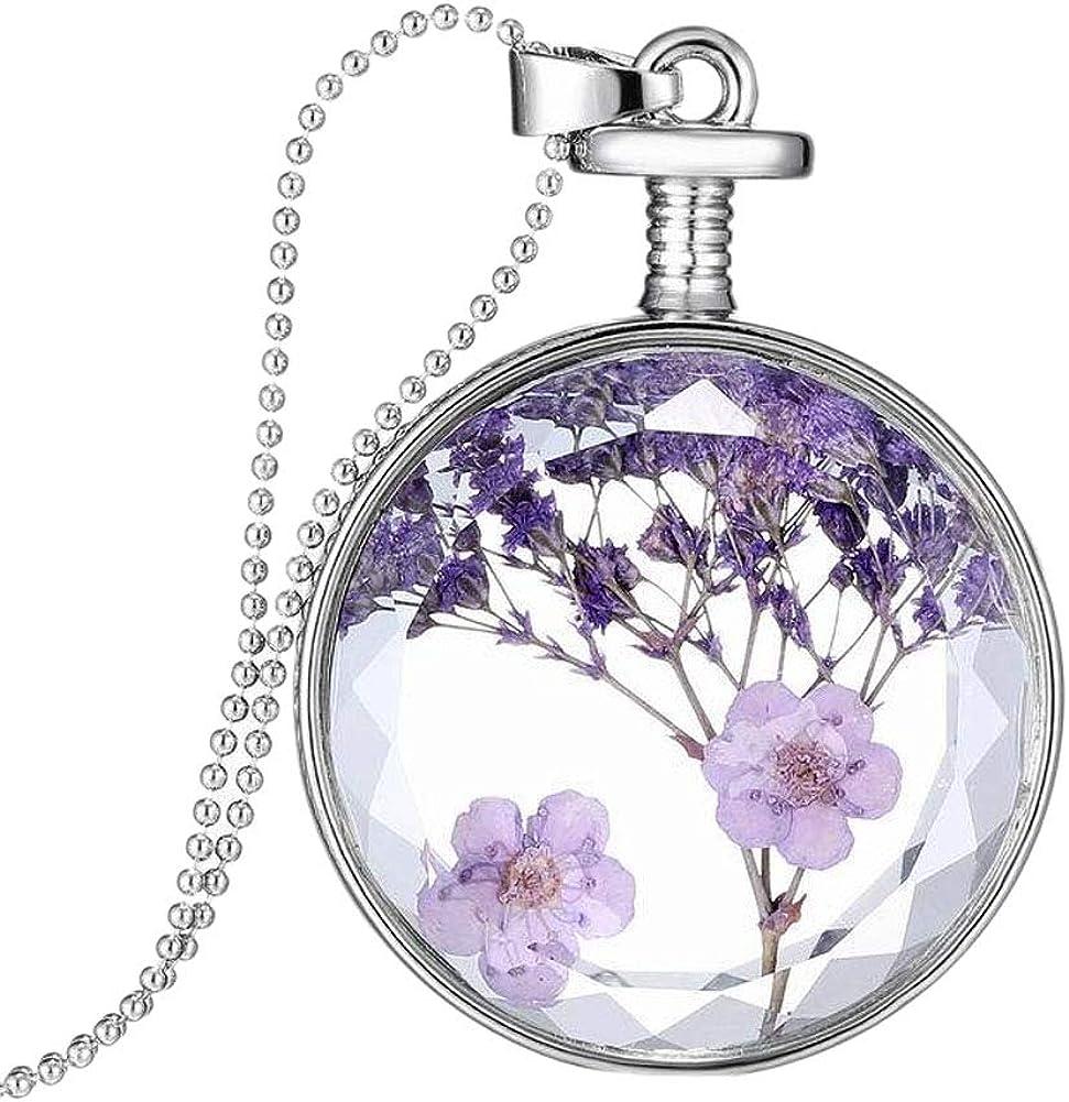 YAZILIND DIY Dried Lavender Flower Clearance SALE! Limited time! Round Platinu Lockets Over item handling ☆ Pendant