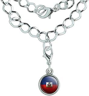 GiftJewelryShop Silver Plated Nicaragua Flag Photo Red Zircon Crystal July Birthstone Flower Bead Charm Bracelets