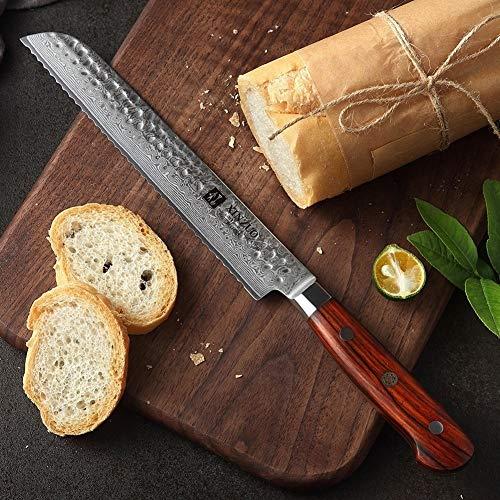Cuchillo 8 '' Cuchillo de pan Damasco acero inoxidable cuchillos de cocina de calidad superior de la carne cuchillo afilado lámina maneta Esfuerzo de ahorro de cuchillos profesional