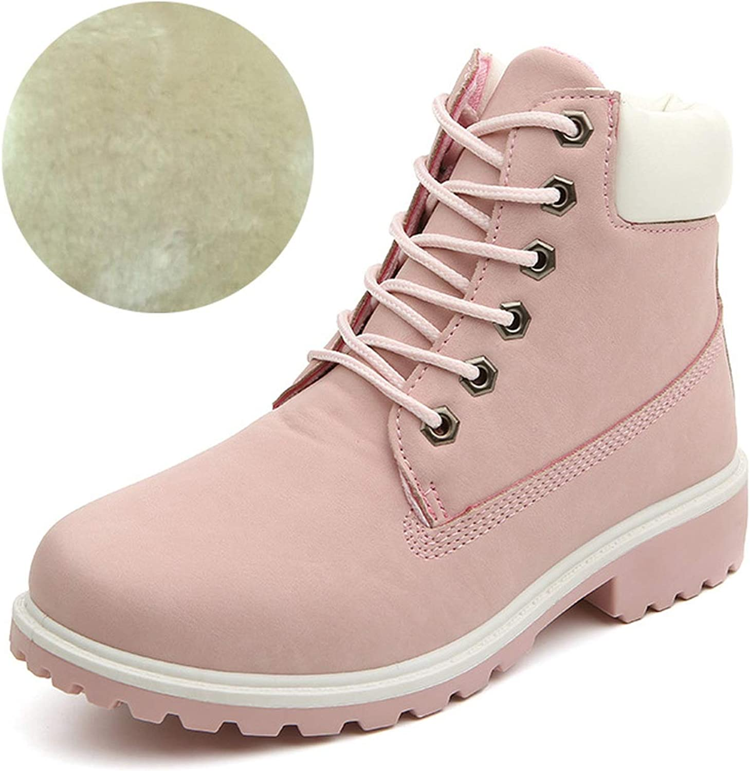 Pretty-sexy-toys Autumn Plush Snow Boots Women Wedges Knee-High Slip-Resistant Boots Thermal Female Cotton-Padded shoes Warm Size Pink with Fur,6.5