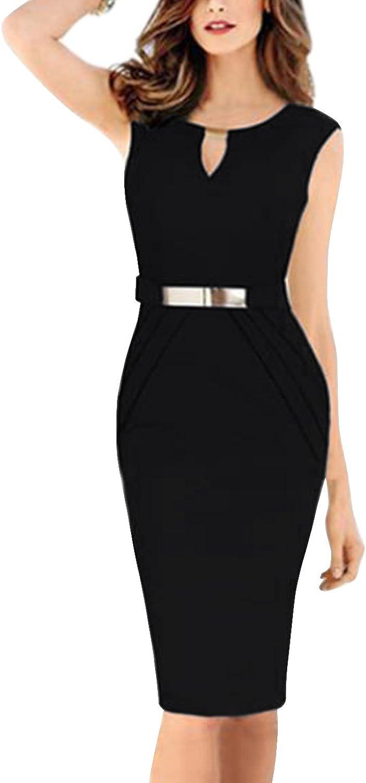 Inshine Women Key-Hole Peplum Sleeveless Gold Belt Business Midi Summer Dresses