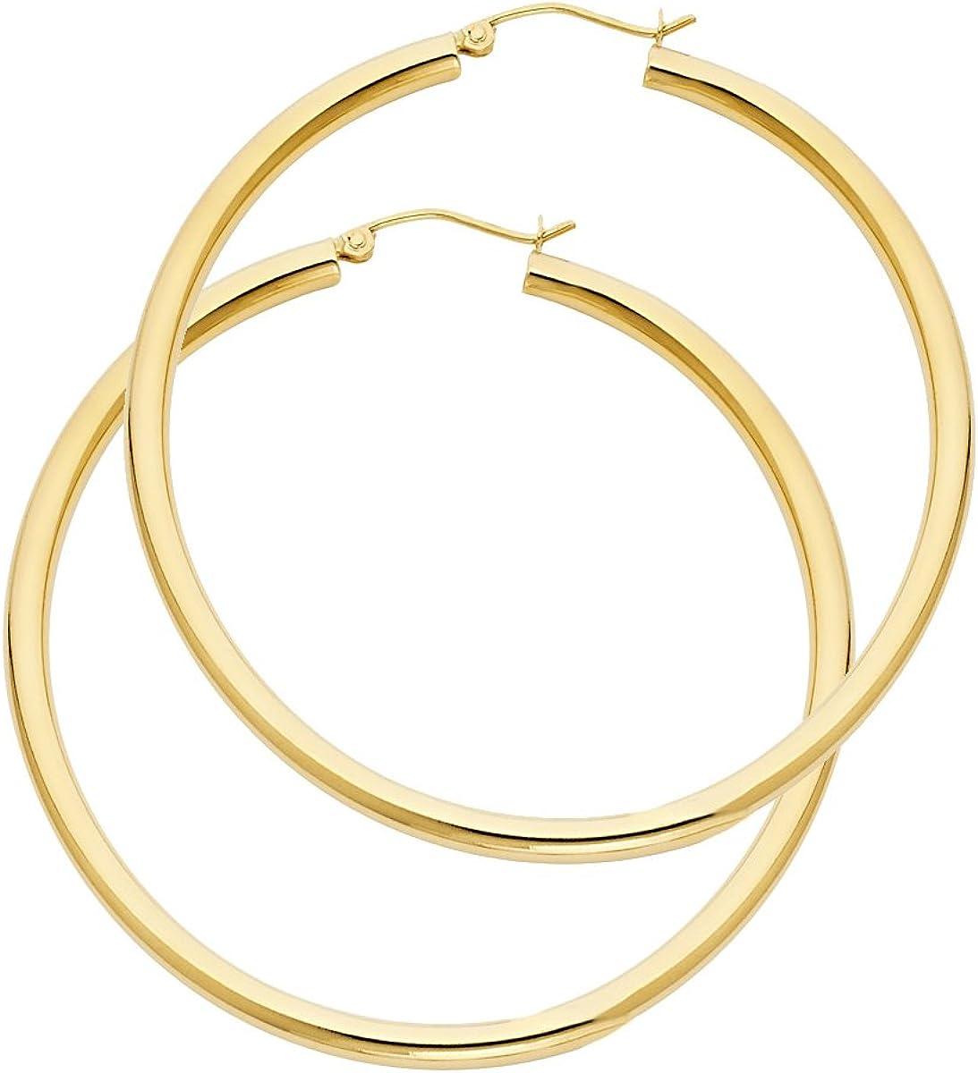 14k Yellow Gold 3mm Thickness Hinged Plain Hoop Earrings - Diameter - 55mm