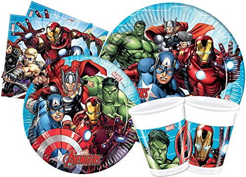 ILS I LOVE SHOPPING Kit Festa Coordinato Tavola Addobbi Party Set Compleanno con 8 Piatti 23cm, 8 Bicchieri e 20 tovaglioli (Avengers Mighty Supereroi, Set 8 Persone)